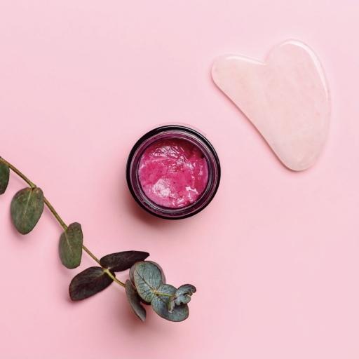 Набор для масажу: Олеогель + скребок Гуаша з рожевого кварцу
